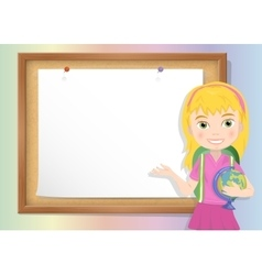 Schoolgirl and cork board with paper vector image vector image