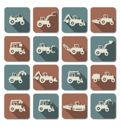 Tractor Flat Icons vector image