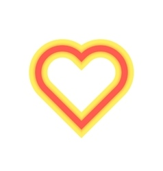 yellow and red luminous heart icon vector image vector image