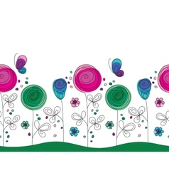 Artistic colorful seamless flower pattern vector image