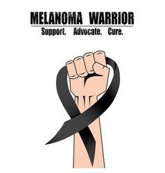 Fight hand fist against melanoma black ribbon vector