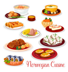 norwegian cuisine national dishes set vector image vector image