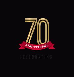 70 year anniversary luxury gold black logo vector