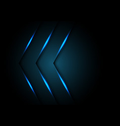 abstract blue light arrow direction on black vector image