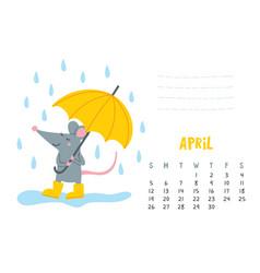 April calendar page with cute rat with umbrella vector
