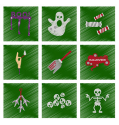 Assembly flat shading style icons halloween boo vector