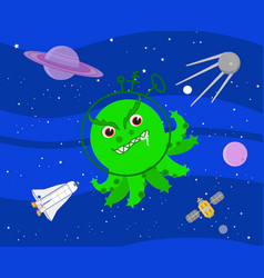 Bad green alien in outer space vector