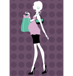 Beautiful pregnant woman shopping vector image