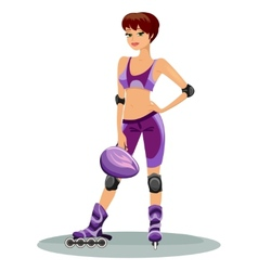 beautiful young roller skater vector image
