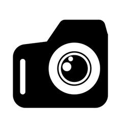 Black flat photo camera icon vector image