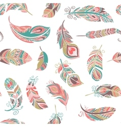 Bohemian style feathers seamless pattern vector