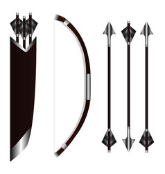 bow weapon with arrows and quiver vector image