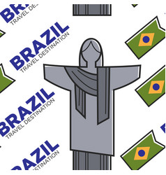 brazilian symbols seamless pattern brazil travel vector image