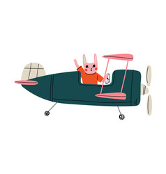 bunny pilot flying on retro plane in sky cute vector image
