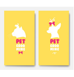 Business cards of grooming service pet vector