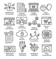 Business management icons in line style Pack 24 vector image
