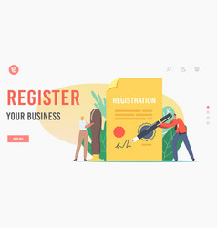 Business registration landing page template tiny vector