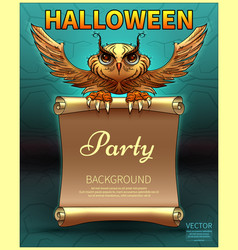 cartoon owl in comic style party of halloween vector image