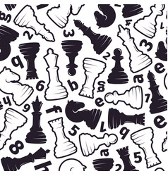 chess seamless pattern stylish chess pieces in vector image