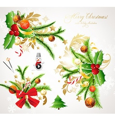 Christmas Holly Banner Set vector image