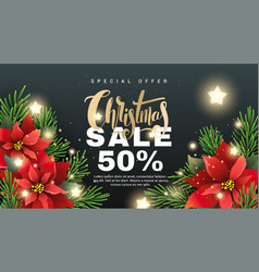 christmas sale banner with fir tree branches vector image