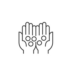 Coins in palms related line icon vector