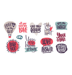 collection of romantic inscriptions written with vector image