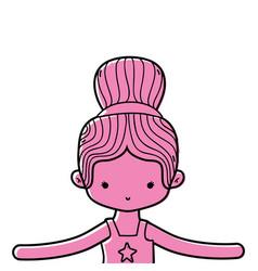 Color girl dancing ballet with bun hair design vector
