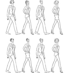 Contour drawings young people in classical vector
