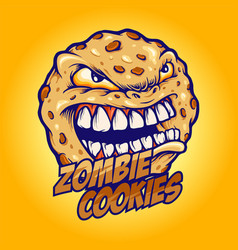 Cookies angry zombie mascot vector