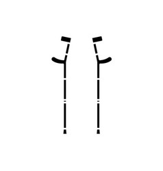 crutches black icon sign on isolated vector image