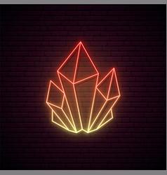 Crystal neon sign orange glowing crystal icon vector