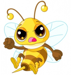 Cute angry bee vector