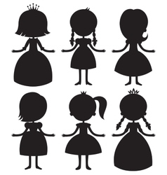 Cute cartoon princess silhouettes set vector