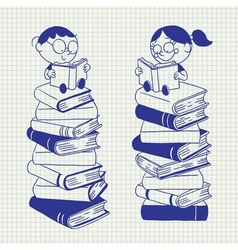 Cute kids reading on a big pile of books vector