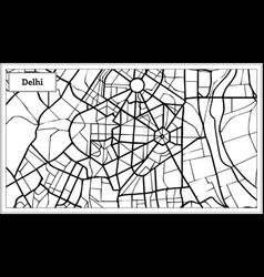 Delhi india city map in black and white color vector