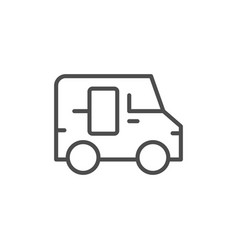 delivery van line outline icon vector image