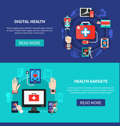 digital health gadgets flat banners vector image