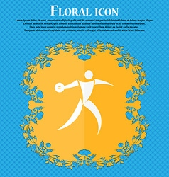 Discus thrower icon floral flat design on a blue vector