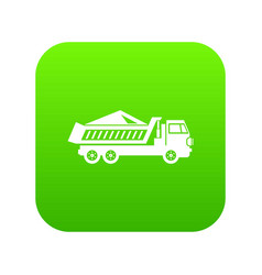 dump track icon digital green vector image