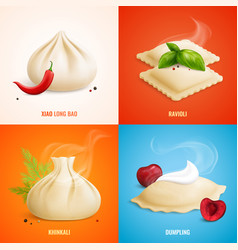 dumplings ravioli manti icon set vector image