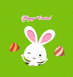 Easter bunny playful with eggs colorful card vector