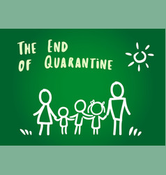 family rejoice that quarantine has ended vector image