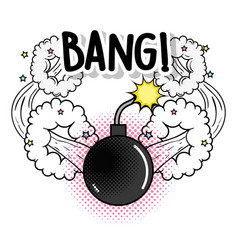 fashion bomb with stars and bang explosion vector image