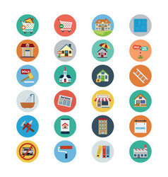 Flat Real Estate Icons 2 vector