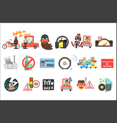 flat set of cartoon items related to safety vector image