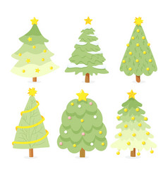 flat style bright christmas tree collection vector image