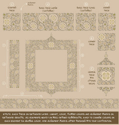 flower decorative ornaments building kit - tan vector image