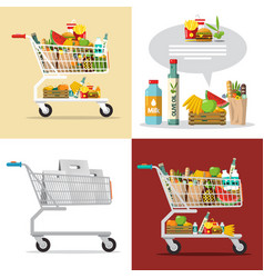 food and drinks in shopping cart shopping center vector image