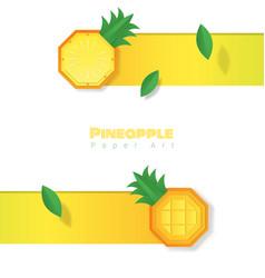 Fresh pineapple fruit background paper art style vector